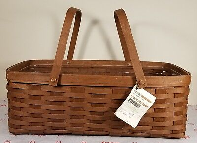 Longaberger Handwoven Rich Brown Long Market Basket With Plastic Protector- 2011