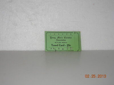 YMCA EARLY 1900's TOWEL CARD  BUTLER PENNSYLVANIA CHICORA PA AREA