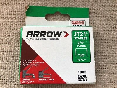 "Arrow Staples  Jt21  3/8""  10Mm  #276  1000 Count Box  Made In Usa"