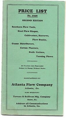 1928 Atlanta Plow Company Catalog, price list ATLANTA GEORGIA; illustrated 47pgs
