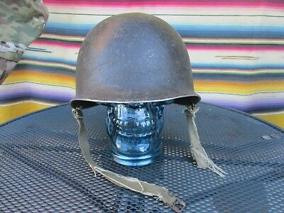 WWII Fixed Bale Helmet Shell With Chinstraps