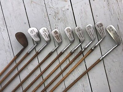 Antique Set Of Hickory Spalding Golf Clubs
