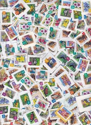 100 Australian Stamps Animals Flowers Used Bulk Lot On Paper