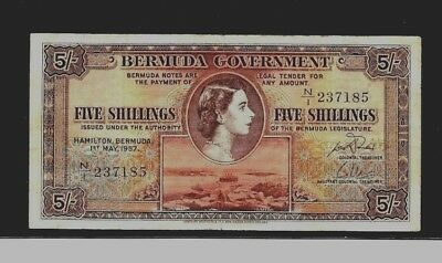 Bermuda Five Shilling's Ex Rare 1957 N/1,,237185 Real Nice Note To Collect