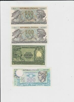 Italy Paper Money 4 old notes uncirculated