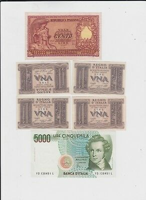 Italy Paper Money 6 old notes uncirculated