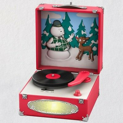 """2018 Hallmark Ornament ~ Rudolph the Red Nosed Reindeer ~ """"Record Player"""" ~ MNIB"""