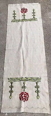 """51"""" Long Antique Arts & Crafts Mission Stickley Embroidered Linen Table Runner"""