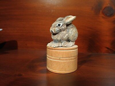 Vintage Hand Carved Bunny Wooden Trinket Keeper  ~ Signed/Dated by Artist