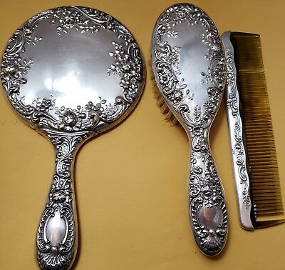 Gorgeous Antique Gorham Sterling Silver, Mirror, Brush, Comb, 925