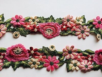 """Floral Embroidered Border Ribbon Lace Trim for Sewing/Crafts/Bridal/2.5"""" Wide"""