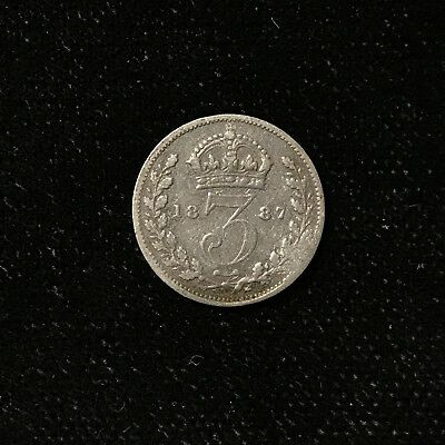 1887 3 PENCE - GREAT BRITAIN *GREAT OLD BRITISH SILVER - VICTORIA - Lot#A731