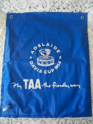 Vintage 1956 TAA Airlines Olympic Games Davis Cup Bag Blow Up Cushion 2 in 1