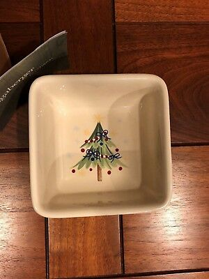 Longaberger All The Trimmings Christmas pottery candy dish bowl NIB