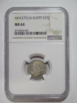 Egypt Ottoman Ah1277 /6 1 Qirsh Silver Type Ngc Ms64 World Coin Collection Lot