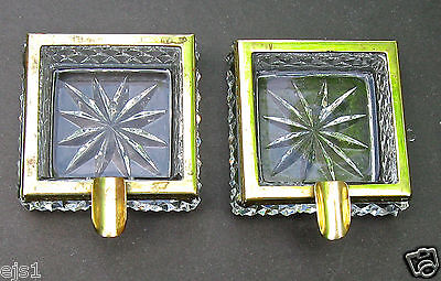 Pair of Small Nesting Ashtrays/Brass & Clear Pressed Pattern Glass/Elegant/Heavy