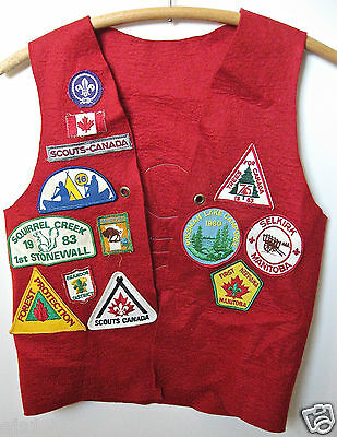 BSA /Red Felt Vest with 23 US & Canadian Patches 1970s-'80s/ Scouts-Canada