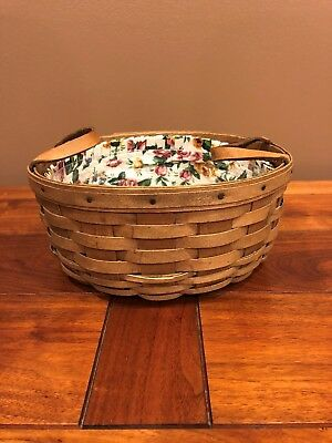 "Longaberger 10"" Round Darning Basket Leather Handles 1981"