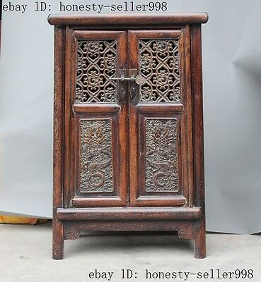 """24""""Rare Old Chinese Huanghuali wood Hand-carved dragon cupboard Bedside cabinet"""
