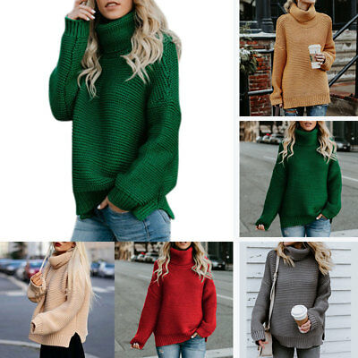 Winter Knitted Turtleneck Sweater Women Oversized Chunky Pullover Thick Jumper