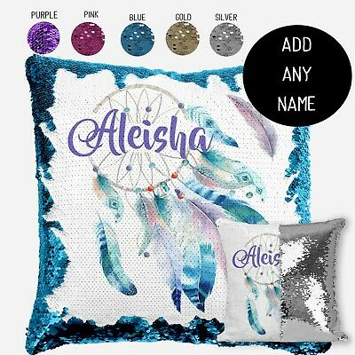 Personalised Dreamcatcher Magic Sequin Cushion Cover Gold Silver Mermaid Pillow