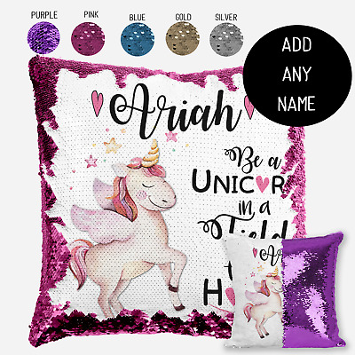 Personalised Unicorn Magic Sequin Cushion Cover, Gold Silver Blue Mermaid Pillow