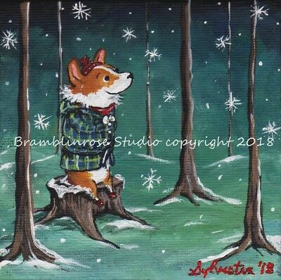 Welsh Pembroke CORGI Painting Dog Puppy Dog in winter coat collectible Art Gift