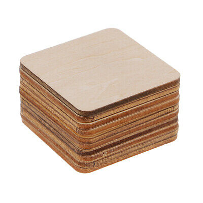 20x Wooden Square Rectangle Coasters Plain Wood Craft Blank Plaque DIY Craft