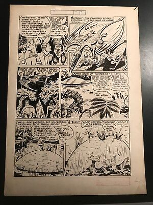 Jill Elgin Blonde Bomber Original Page - Early Female Comic Artist Late 1940's