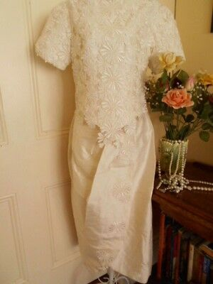 VINTAGE 1960's WEDDING SKIRT & TOP IVORY SHANTUNG STYLE FABRIC