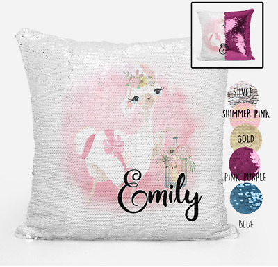 Personalised Llama Magic Sequin Cushion Cover Gold Silver Pink Mermaid Pillow
