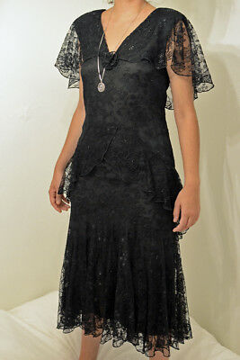 1970s Black Layered Lace Holly Harp Sparkle Dress in 1930s Style Size S