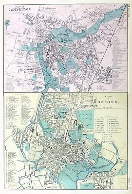 OXFORD & CAMBRIDGE, 1910 - Original Antique Map / City Plan, Bacon.