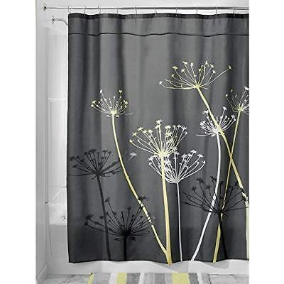 InterDesign Thistle Fabric Shower Curtain Long 72 X 84 Inch Gray