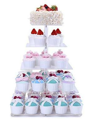 BonNoces Premium 5 Tier Square Acrylic Glass Wedding Dessert Stand-Cupcake