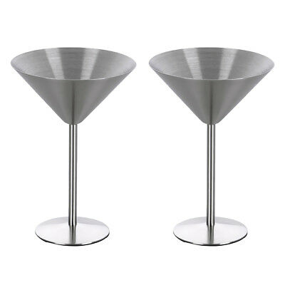 2x Stainless Steel Wine Goblets Beer Drinks Cups Glasses for Home Bar Party