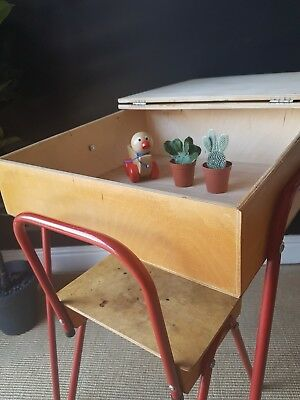 ☆ Super Retro Vintage Childrens Plywood Desk and Chair ☆