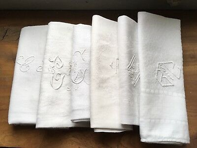 Harlequin Set Of Six Vintage French White Linen  Dinner Napkins All Monogrammed