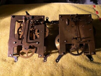 2 Two Clock Movements Mantle Clock Spares Or Repairs