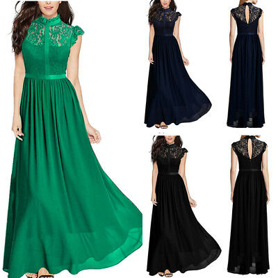 Women Lace Chiffon Dress Cocktail Party Evening Formal Wedding Bridesmaid Gown