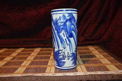 "Asian Porcelain Blue and White Outdoor Scene Small Vase 6""x2 3/4"" Marked"