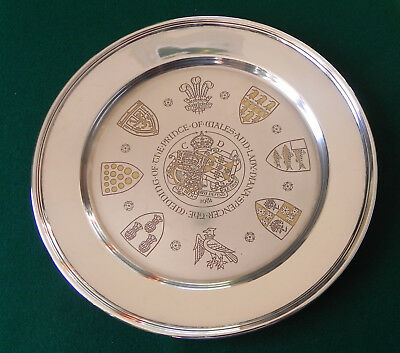 Prince of Wales & Lady Diana Commemorative Solid Silver Wedding Plate 1981 311g