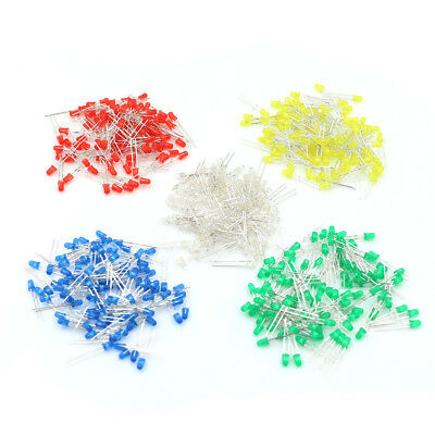 100Pcs / Bag 3mm LED Light Bulb Emitting Diode White Green Red Blue Yellow NT