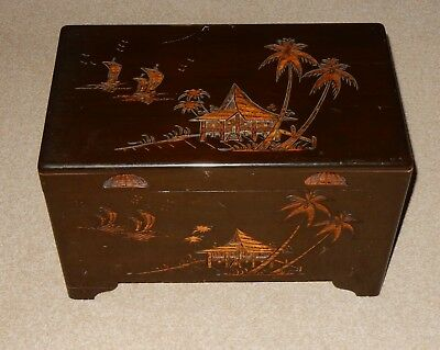 Vintage Small Oriental Carved Camphor Wood Chest - Trunk