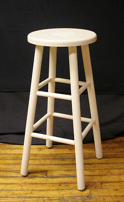 Vintage Solid Wood Wooden White Stool Plant Stand Side Bar Chair Seat Furniture
