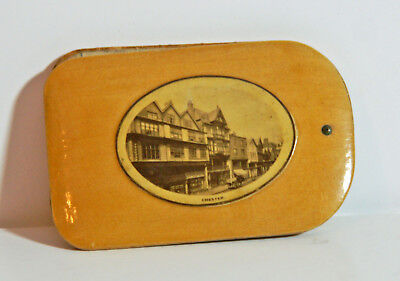 Vintage Mauchline ware aide memoire with view of Chester - Cheshire, England