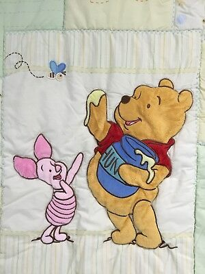 Winnie the Pooh Baby Fabric Quilted Blanket 32.5 x 42.5 Inch Piglet Hunny Pot