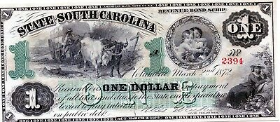 1872 $1.00 EARLY State of South Carolina Bank Note