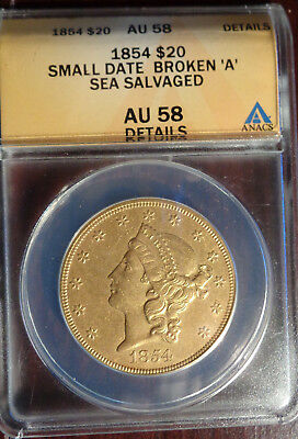 1854 Small Date $20 Liberty ANACS AU 58 ~ Double Eagle Gold Coin S/N 5142020