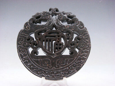 Old Nephrite Jade Stone 2 Sides Carved LARGE Pendant 2 Dragons & FU #11171809